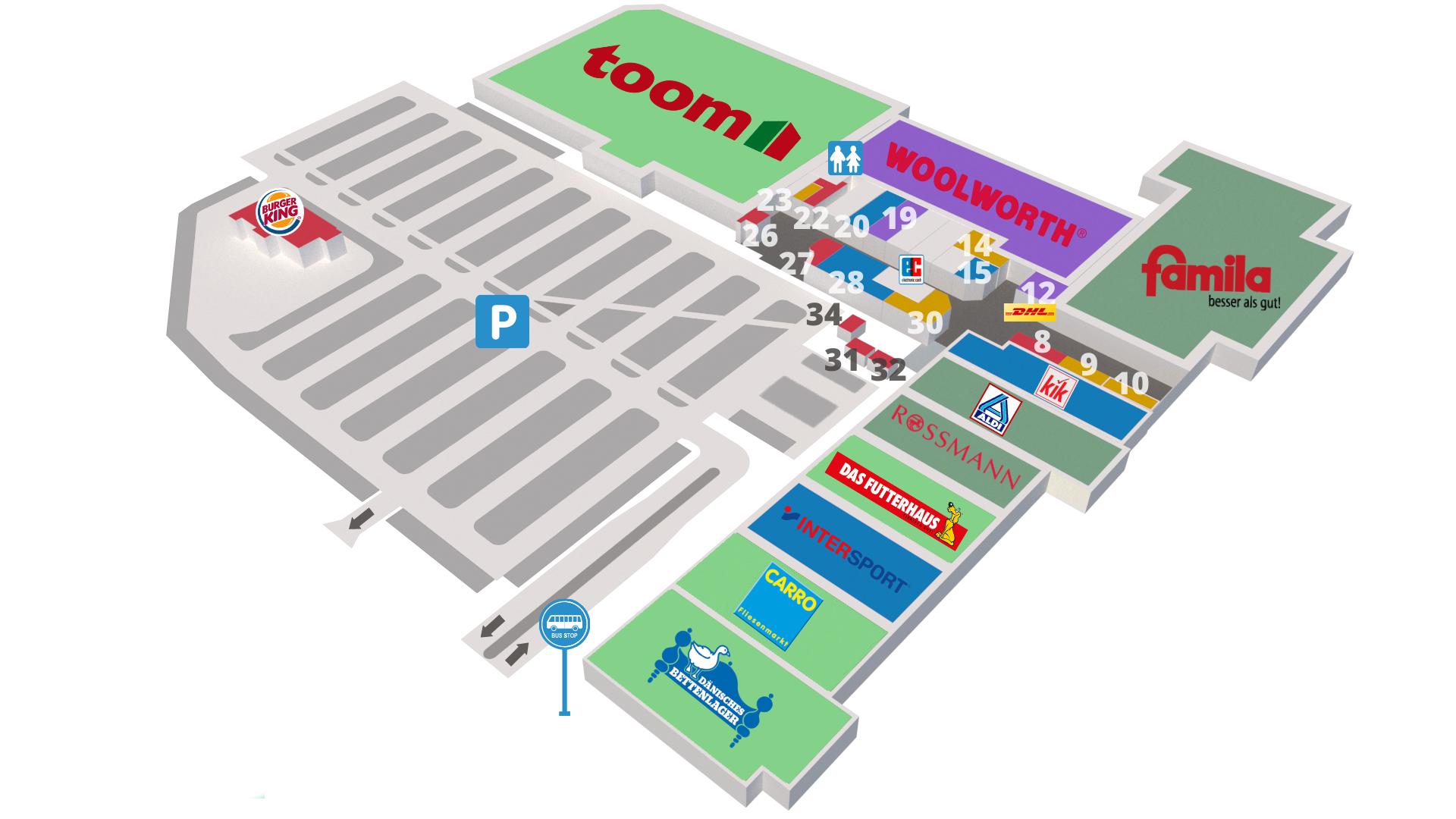 Lageplan der Geschäfte im Eiderpark